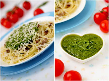 Italian pasta collage with pesto sauce