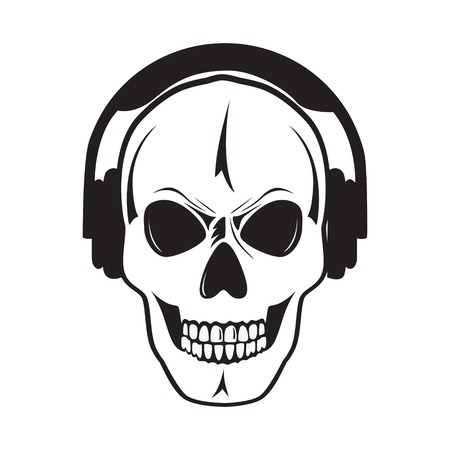 Jolly skull with headphones  Illustration