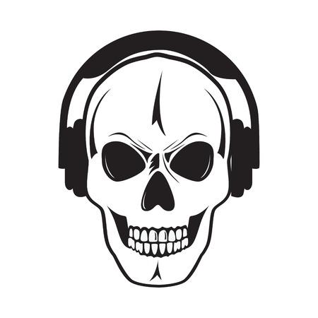 Jolly skull with headphones  Vector