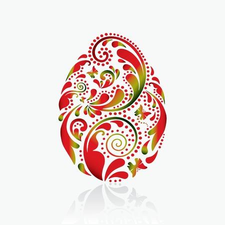 Easter egg from the leaf pattern  Illustration