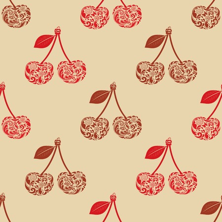 Vintage seamless texture with cherry from the leaf pattern. Vector