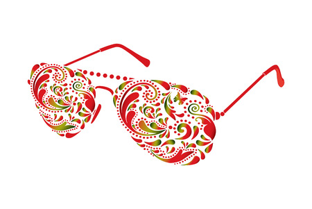 sun protection: Beautiful sun glasses on white background.