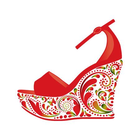 tacones rojos: Hermosas sandalias en un fondo blanco. Objeto aislado. Vectores