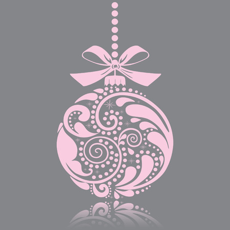 pink christmas: Christmas print. Christmas toy. Isolated object. Illustration
