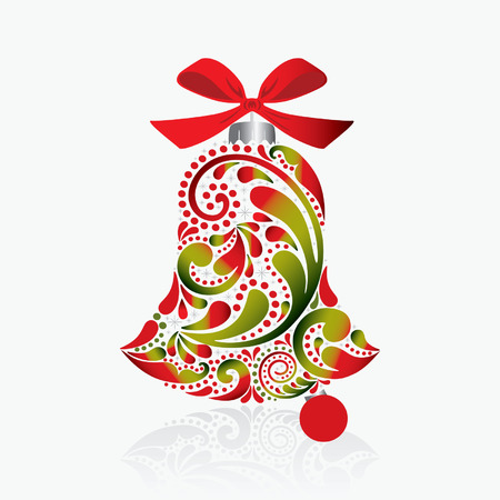jingle: Print. Christmas bell of the leaf pattern. Isolated object.