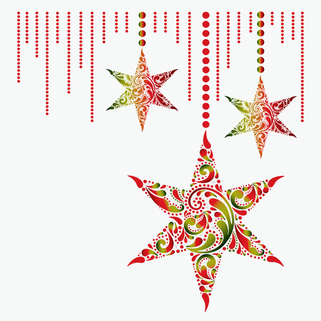 Christmas card with the stars on a white background.