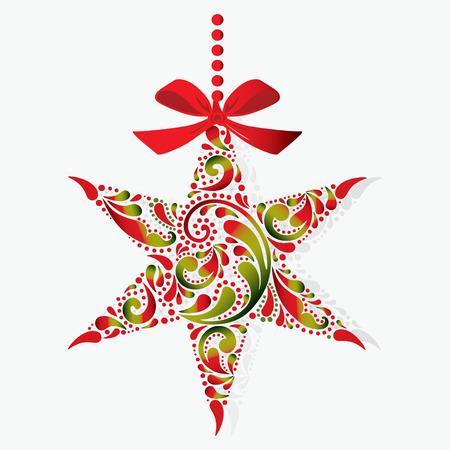 Stampare. Stella di Natale su uno sfondo bianco. Natale giocattolo. Oggetto isolato.