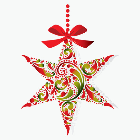 Print. Christmas star on a white background. Christmas toy. Isolated object.