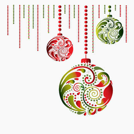 Christmas card with the balls on a white background. Print. Illustration