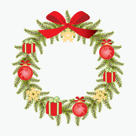object print: Christmas wreath on a white background. Isolated object. Print.