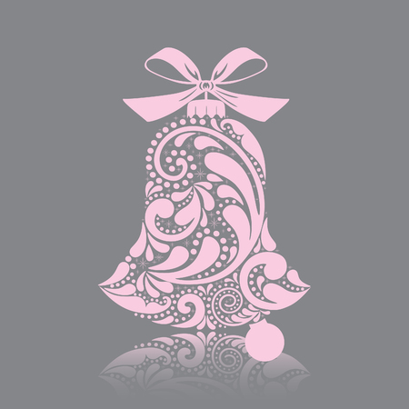 Print. Pink christmas bell of the leaf pattern. Isolated object. Illustration