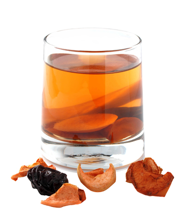 Assorted dried fruit compote in a glass on a white background. Isolated photo. Stock Photo