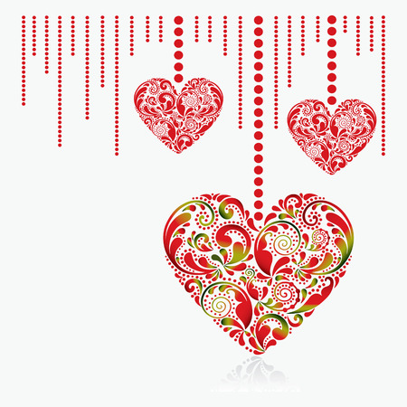 Valentines Day card. Beautiful red hearts on a white background.