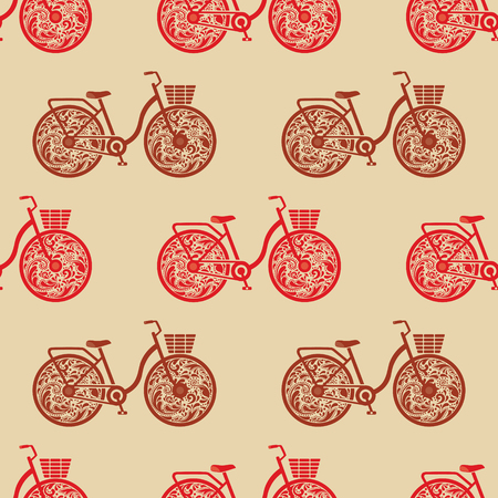 Seamless Vintage Bicycle Texture Old Paper Shirt Print