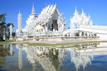 dhamma: White  Buddhist temple in Thailand
