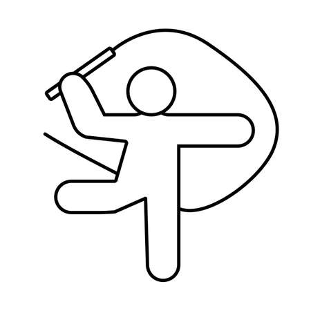 Vector illustration of art of rhythmic gymnastics Lifestyle icons set female silhouettes of gymnasts. Female sports, fitness, gym, health, beauty