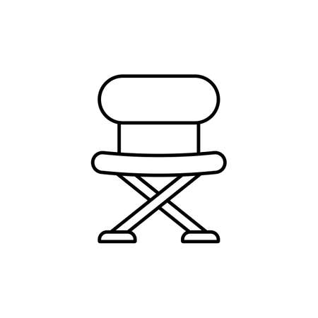 Icon of Fishing folding chair. White background with shadow design. Vector illustration. 向量圖像