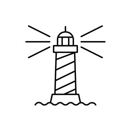lighthouse icon element of building icon for mobile concept and web apps. Thin line lighthouse icon can be used for web and mobile. Premium icon on white background.