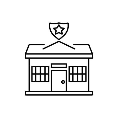 police station icon element of building icon for mobile concept and web apps.  Premium icon on white background.