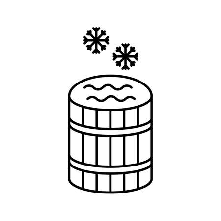 sauna barrel with cold water icon element of bathhouse icon for mobile concept and web apps. Thin line sauna barrel icon can be used for web and mobile. Premium icon on white background.