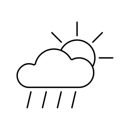 sunny rain icon element of weather icon for mobile concept and web apps. Thin line sunny rain icon can be used for web and mobile. Premium icon on white background.