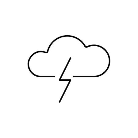 thunder icon element of weather icon for mobile concept and web apps. Thin line thunder icon can be used for web and mobile. Premium icon on white background. 向量圖像