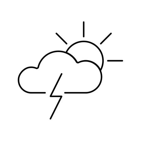 thunder and sun icon element of weather icon for mobile concept and web apps. Thin line weather icon can be used for web and mobile. Premium icon on white background. Ilustrace