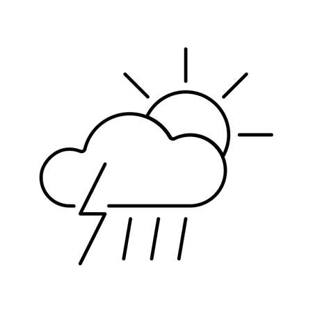 thunder, sun and rain icon element of weather icon for mobile concept and web apps. Thin line thunder, sun and rain icon can be used for web and mobile. Premium icon on white background.