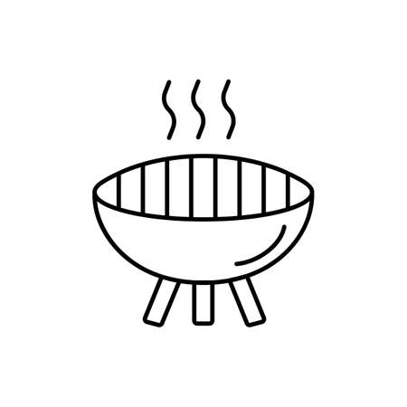 grill icon element of camping icon for mobile concept and web apps. Thin line grill icon can be used for web and mobile. Premium icon on white background.