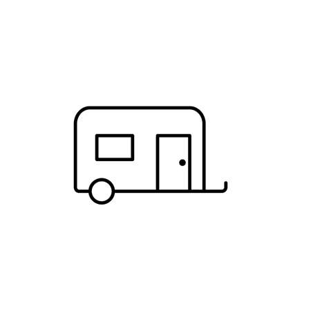 camping trailer icon element of camping icon for mobile concept and web apps. Thin line camping trailer icon can be used for web and mobile. Premium icon on white background. 向量圖像