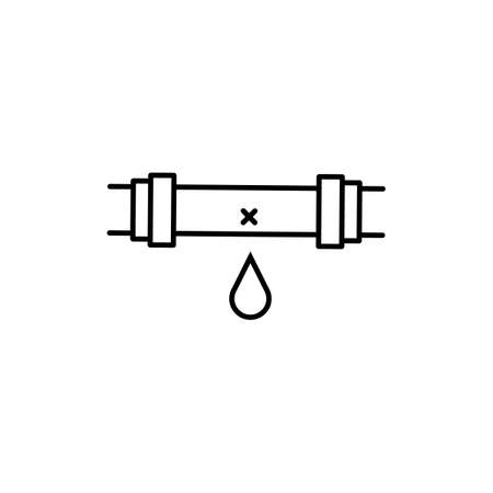 leaking pipe icon element of plumbing icon for mobile concept and web apps. Thin line leaking pipe icon can be used for web and mobile. Premium icon on white background.