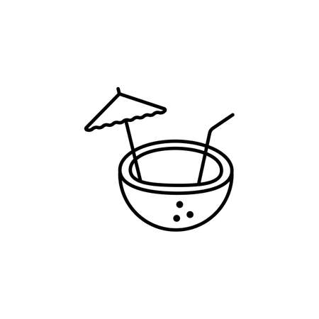 coconut cocktail icon element of bar icon for mobile concept and web apps. Thin line coconut cocktail icon can be used for web and mobile. Premium icon on white background. 向量圖像