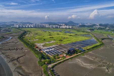 Vista aérea del parque ecológico de la marisma de Sorae Foto de archivo