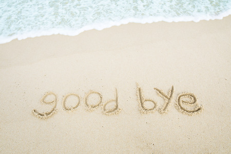 text_good bye written on the beach 스톡 콘텐츠 - 113041553