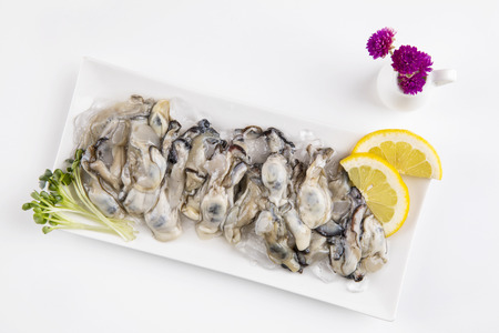 healthy and fresh oysters with lemon and flowers.