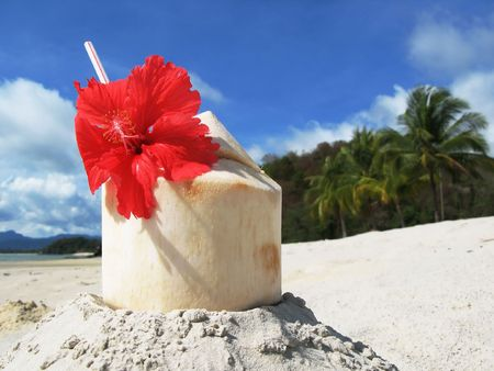 langkawi island: Coconut cocktail on the beach of Langkawi island, Malaysia