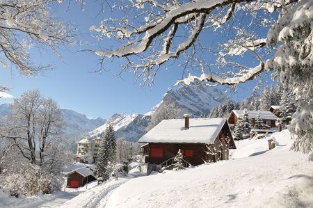 snowbank: Braunwald, Switzerland Stock Photo