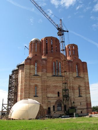 Orthodox church under construction photo