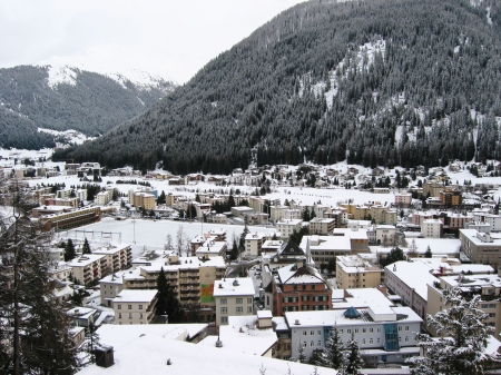 Winter view of Davos, famous Swiss skiing resort photo