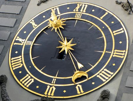 Ancient clock in Bern, Switzerland photo