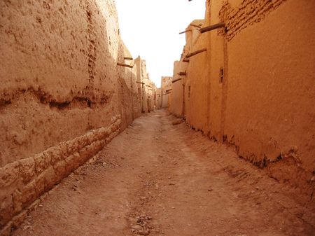 Narrow street in Diriyah, Saudi Arabia