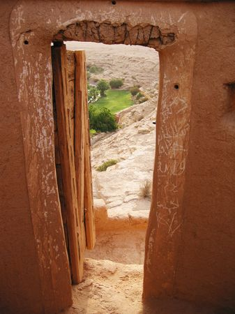 View to oasis from the Diriyah fortress in Er Riyadh, Saudi Arabia photo