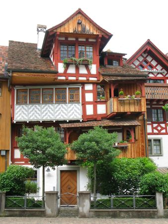 german swiss: Traditional Swiss house in Arbon, canton Thurgau Stock Photo