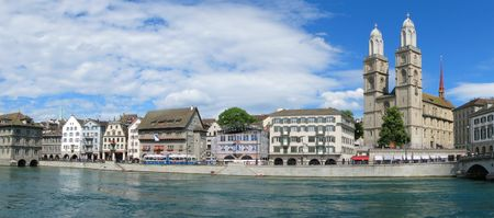 Panorama of Zurich downtown photo