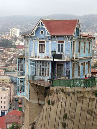 backwoods: Famouse hillside house in Valparaiso, Chile Stock Photo