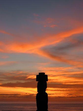 Ahu Tahai. Moai of Easter Island at dusk Stock Photo - 6157939