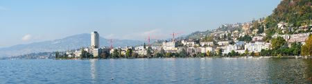 montreux: Panorama of Montreux, Switzerland Stock Photo