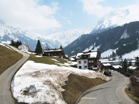 Spring in Engelberg, famous Swiss skiing resort photo