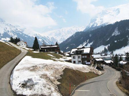 Spring in Engelberg, famous Swiss skiing resort photo