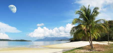 moon chair: Tropical beach of Langkawi island, Malaysia Stock Photo